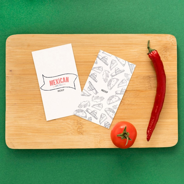 Top view of food menu concept mock-up Free Psd