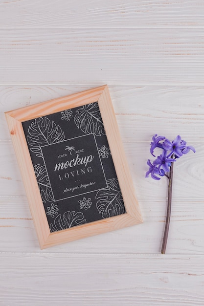 Top view of frame mock-up with hyacinth flower Free Psd