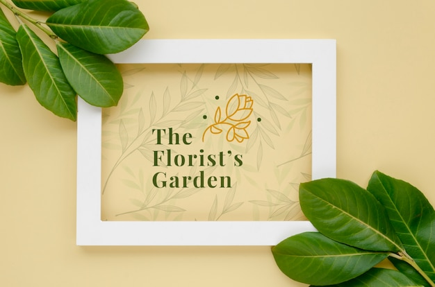 Top view frame with botanical leaves Free Psd