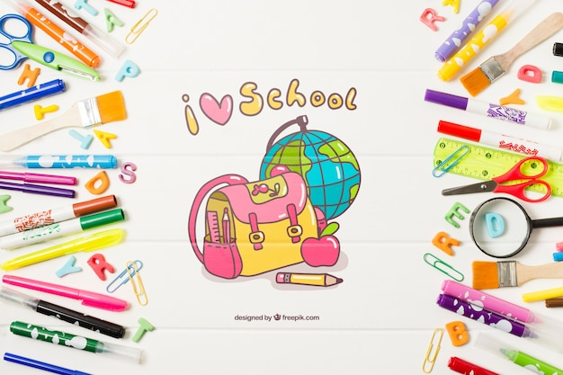 Free Psd Top View Frame With School Supplies