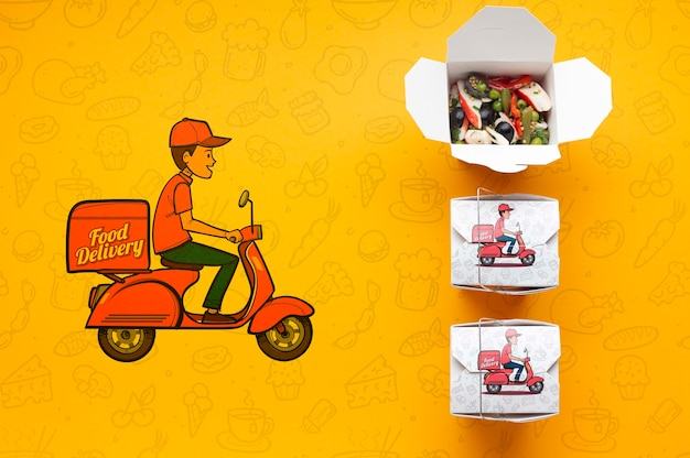 Top view free food delivery arrangement with mock-up Free Psd