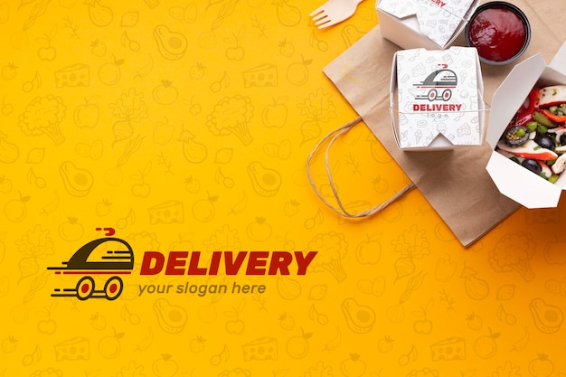 Top view free food delivery assortment with background mock-up Free Psd