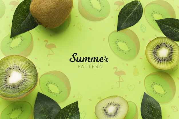 Top view fresh kiwi with mock-up Premium Psd