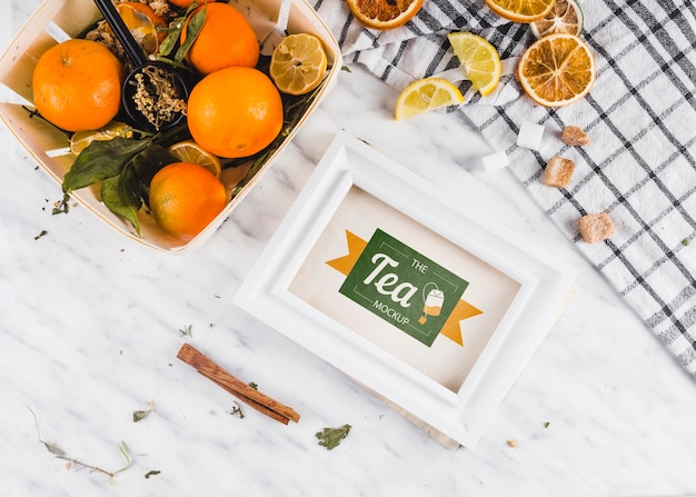 Top view fruit citrus tea mock-up Free Psd