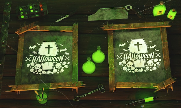 Top view halloween concept on wooden background Free Psd