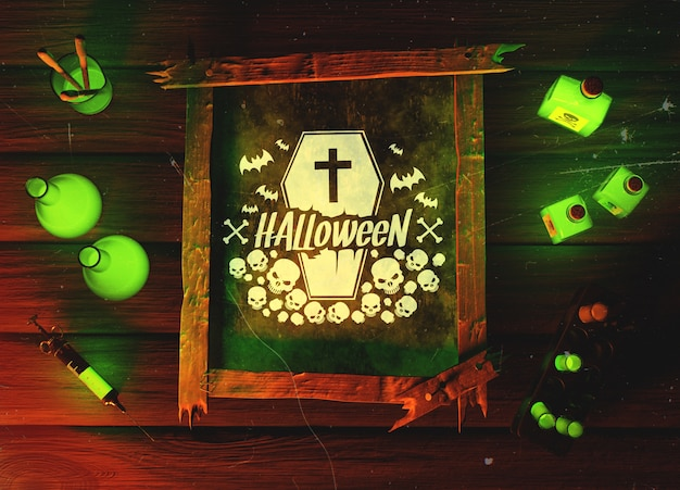 Top view halloween green horror concept Free Psd