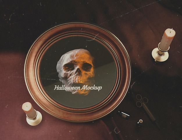 Top view halloween round frame with skull Free Psd
