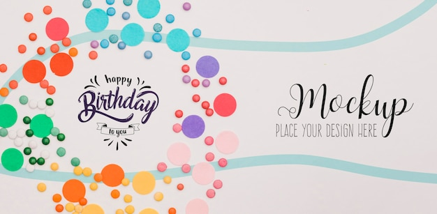 Top view happy birthday concept with mock-up Premium Psd