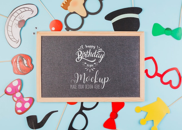 Top view happy birthday concept with mock-up Free Psd