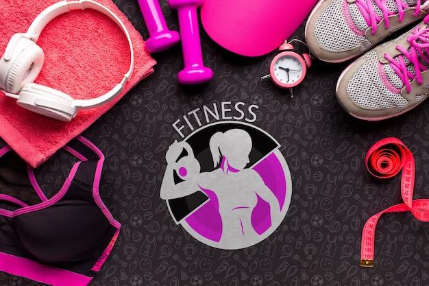 Vista dall'alto cuffie e attrezzature per il fitness Psd Gratuite