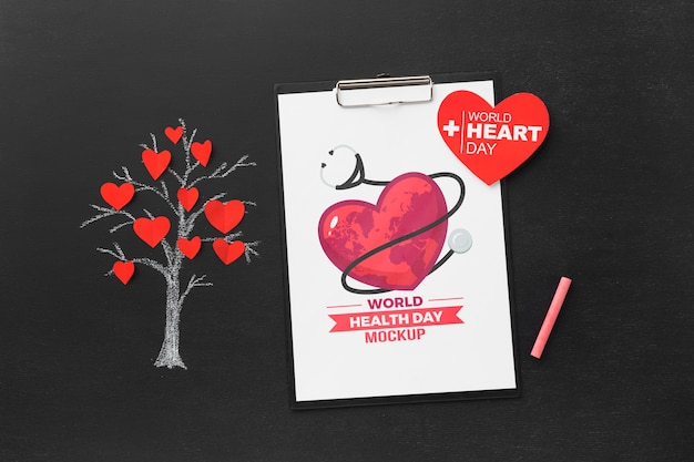 Top view health day mock-up tree with hearts Free Psd