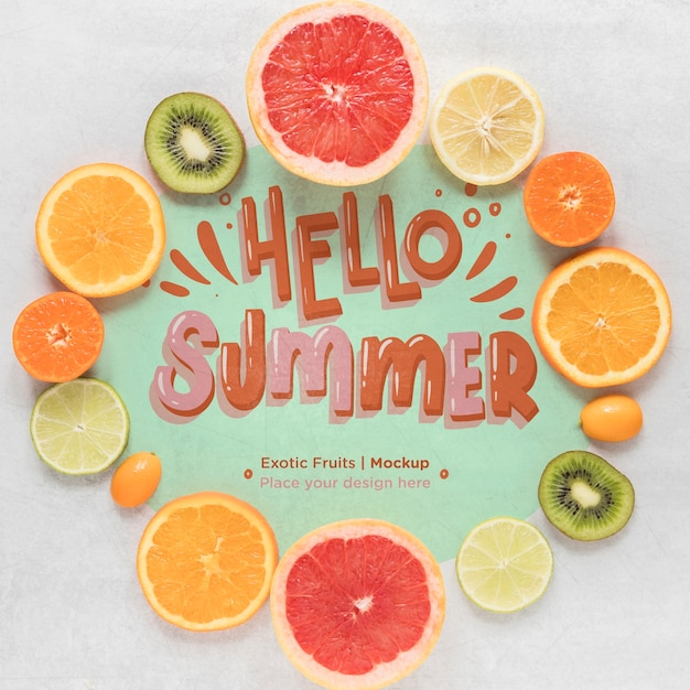 Top view hello summer concept with tasty fruits Free Psd