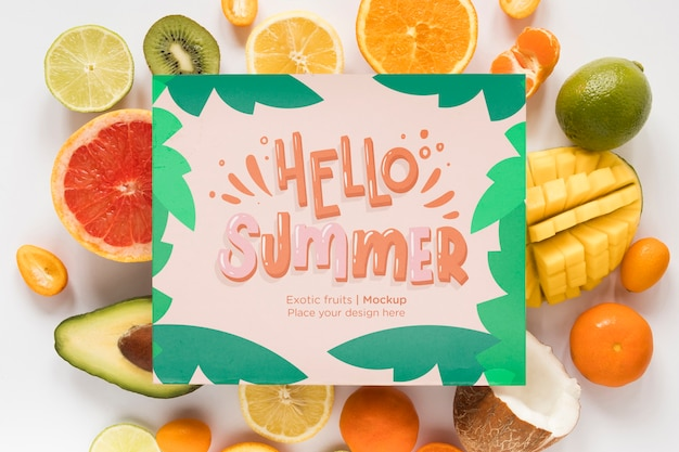 Top view hello summer with exotic fruits Free Psd