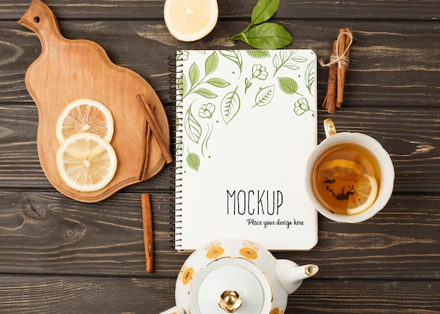 Top view of herbal tea concept mock-up Free Psd