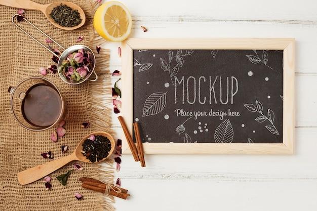 Top view of herbal tea concept mock-up Premium Psd