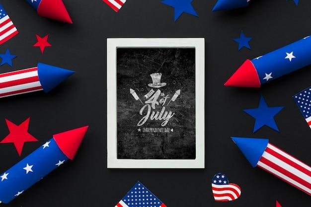 День независимости, вид сверху с макетом Бесплатные Psd