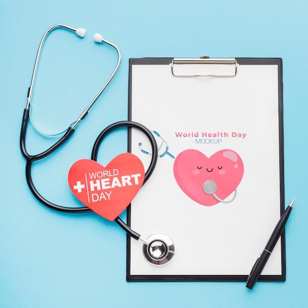 Стетоскоп к международному дню здоровья Бесплатные Psd