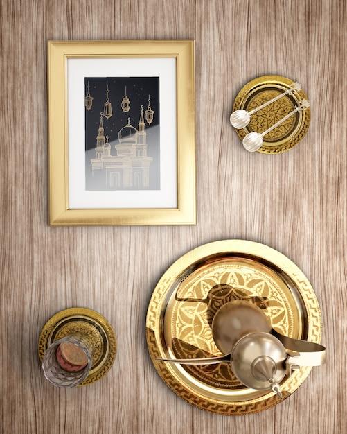 Вид сверху исламское новогоднее украшение на деревянном фоне Бесплатные Psd