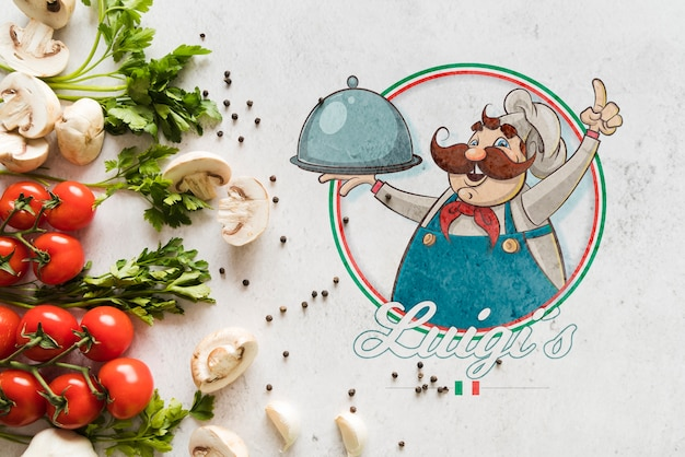 Top view italian food ingredients with logo Free Psd