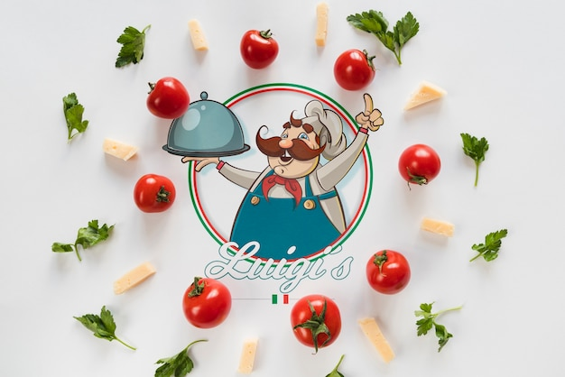 Top view italian food ingredients with white background Free Psd