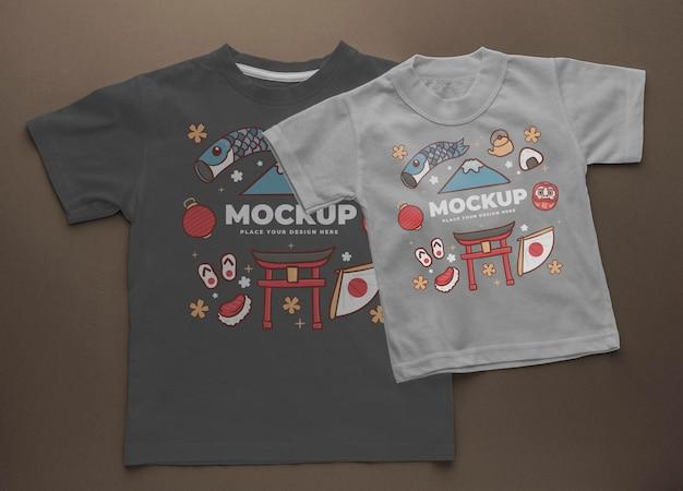 Top view japanese t-shirt mock-up arrangement Free Psd