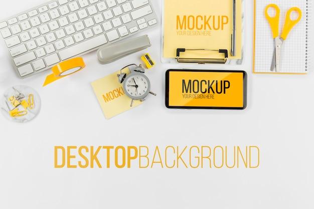 トップビューキーボードとモックアップ付き携帯電話 無料 Psd