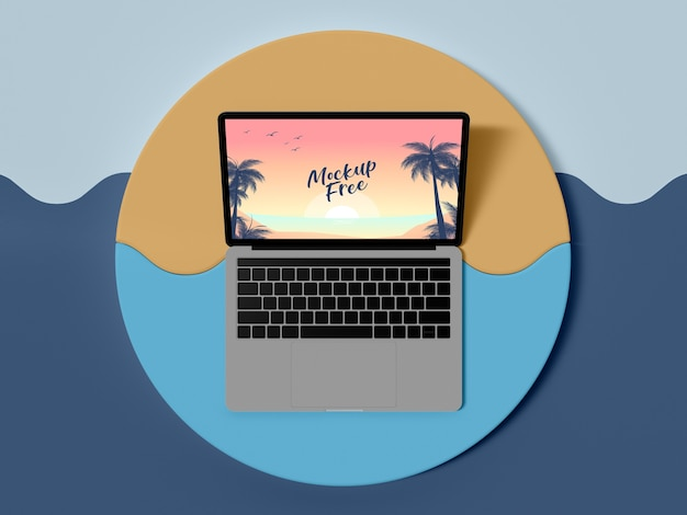 Top view laptop summer concept Free Psd