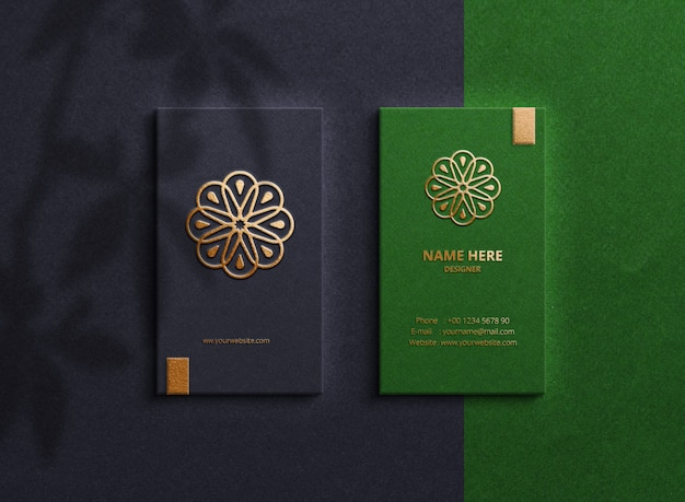Top view on luxury business cards Premium Psd