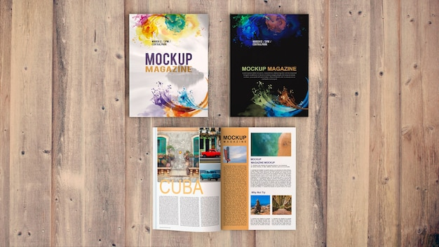 Top view magazine mockup on wooden table Free Psd