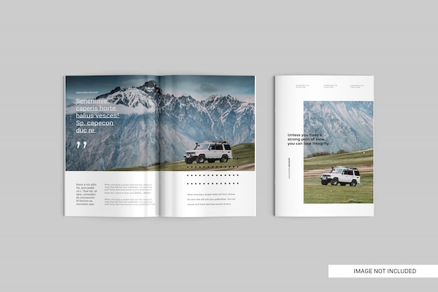 Top view magazine mockup Premium Psd