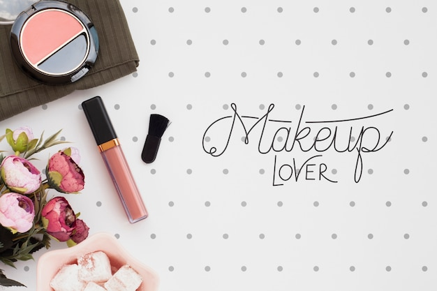 Top view of make-up concept mock-up Free Psd
