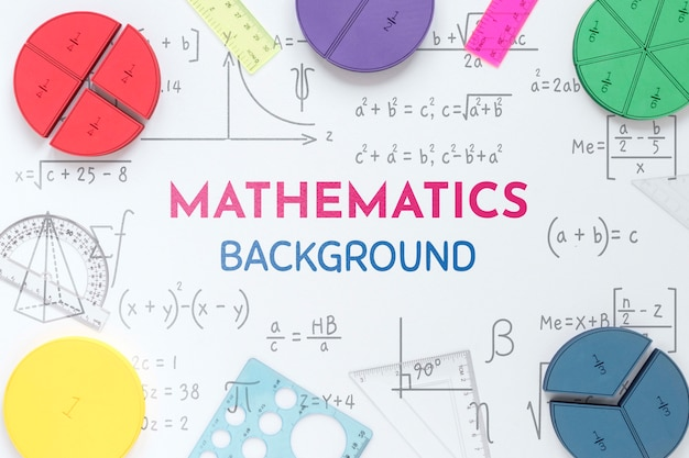 Top view of mathematics background with shapes and rulers Free Psd