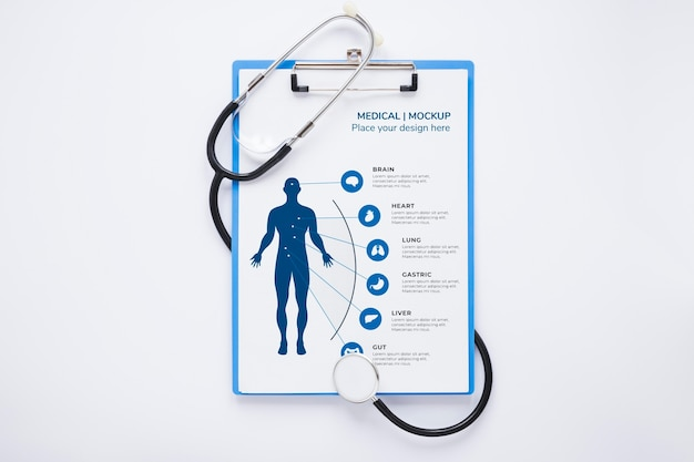 Check-up medico vista dall'alto con mock-up Psd Gratuite