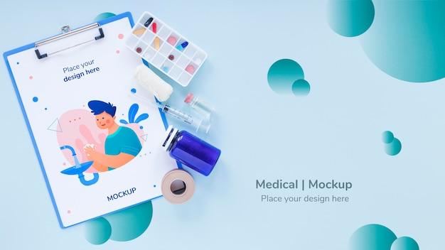 Вид сверху медицинский буфер обмена с макетом Бесплатные Psd