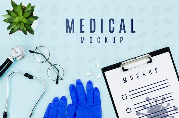 Медицинская концепция вид сверху с макетом Бесплатные Psd