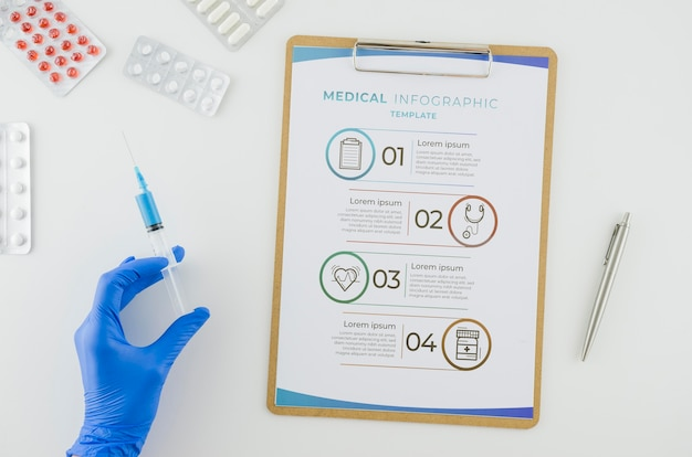 Top view medical infographic with mock-up Free Psd