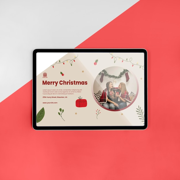 Top view merry christmas greeting with mock-up Free Psd