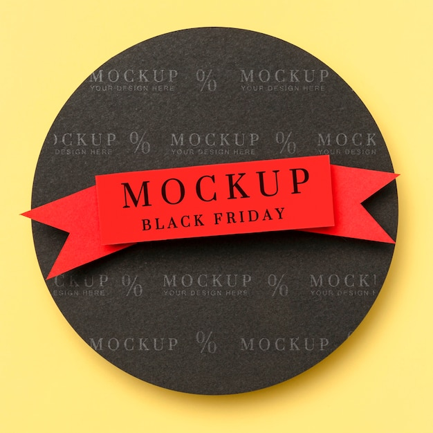 Top view mock-up black friday ribbon on yellow background Free Psd
