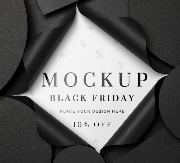 Top view mock-up black friday torn paper Free Psd
