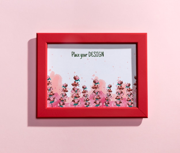 Top view mock-up red frame Free Psd
