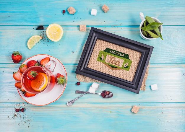 Top view morning tea mock-up Free Psd