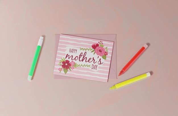 상위 뷰 어머니의 날 인사말 카드 무료 PSD 파일