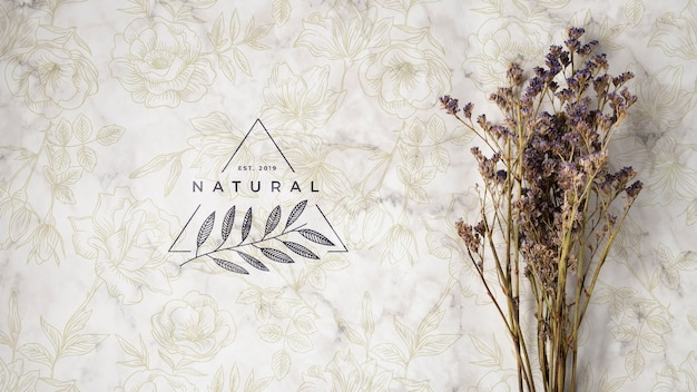 Top view of natural flower bouquet Free Psd