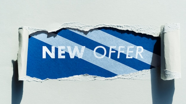 Top view new offer mock-up on paper Free Psd