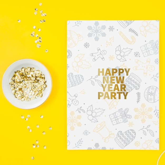 Top view new year card mock-up Free Psd