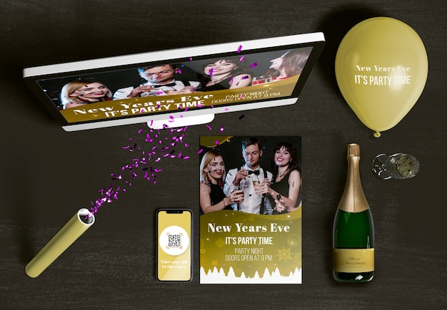 Top view of new year scene creator concept Free Psd