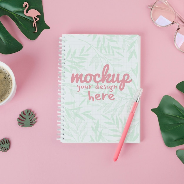 Top view notebook mock-up Free Psd