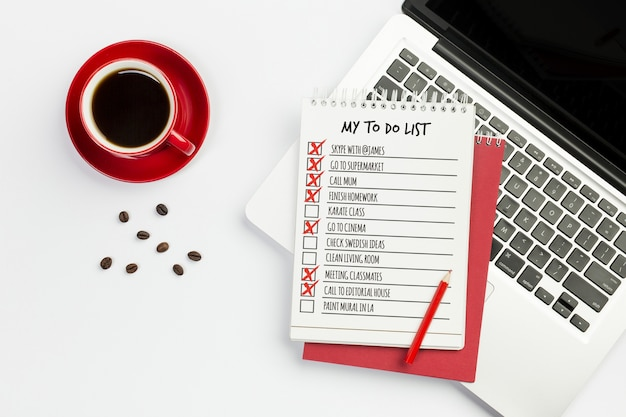 Top view notebookwith to do list concept Free Psd