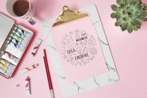 Top view notebook with pencil Free Psd