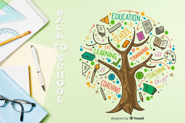 Top view notebooks and glasses arrangement Free Psd